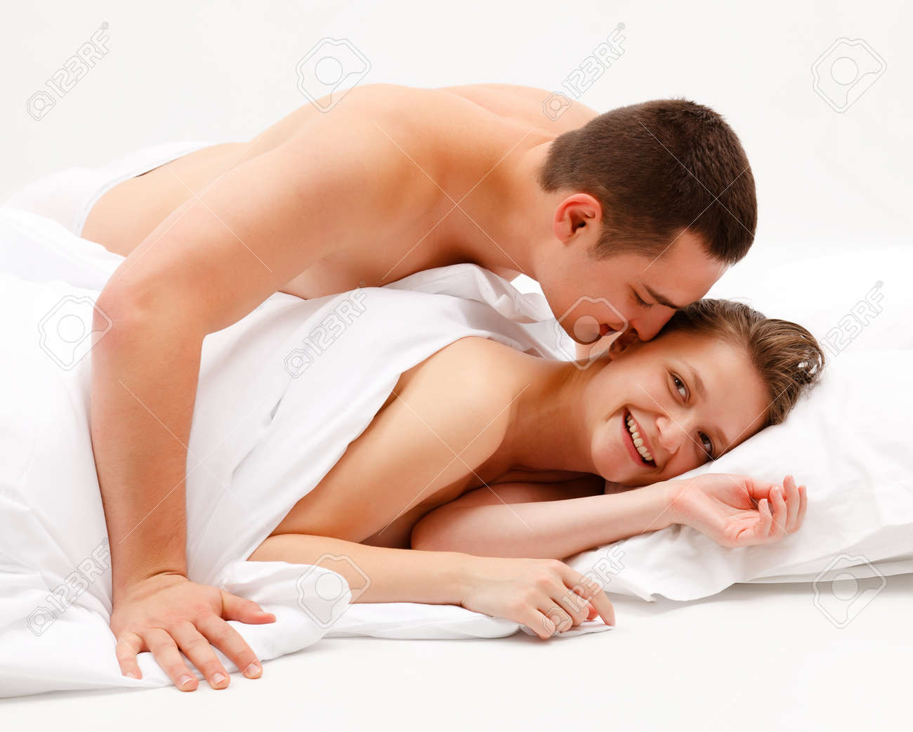 Nude in bed guy and woman