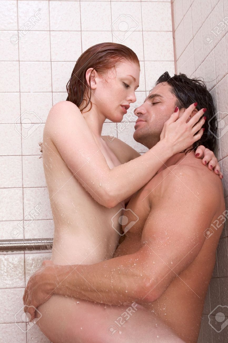 Nude couples in shower together