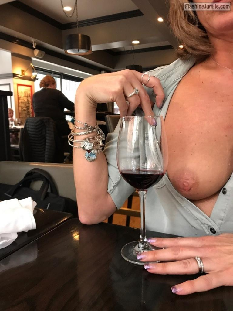 Flashing tits with wine
